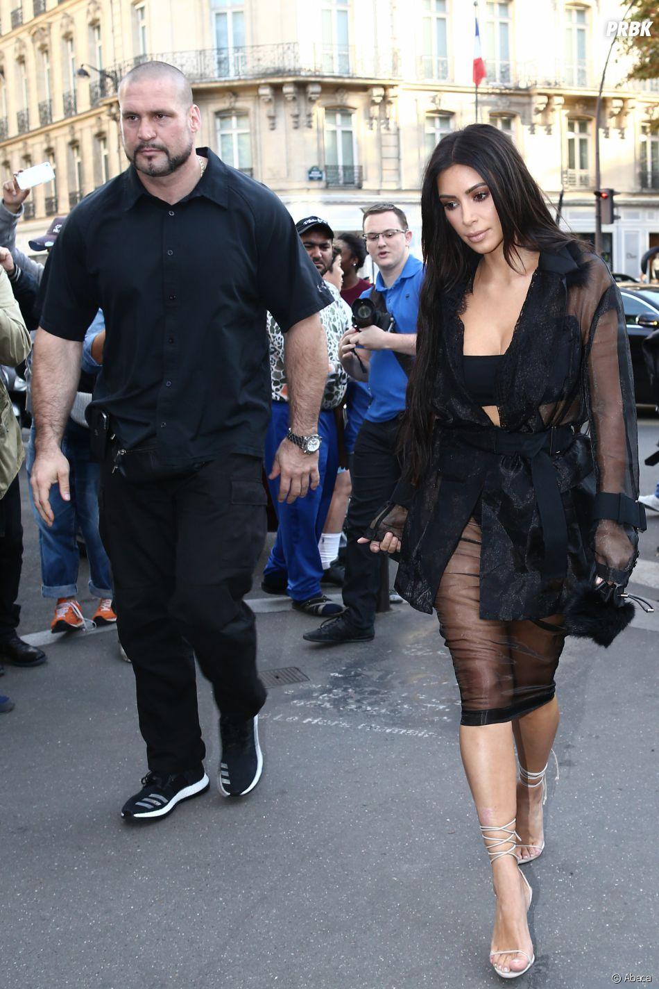 Pascal Duvier lorsqu'il était encore garde du corps de Kim Kardashian, quelques jours avant l'agression à Paris.