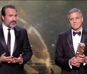 César 2017 : quand Jean Dujardin joue les mauvais traducteurs pour George Clooney, c'est à mourir de rire
