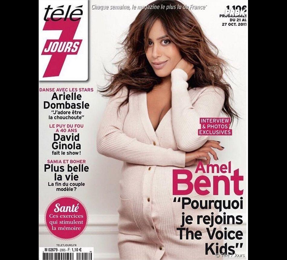 Amel Bent enceinte de son deuxième enfant en couverture de Télé 7 Jours