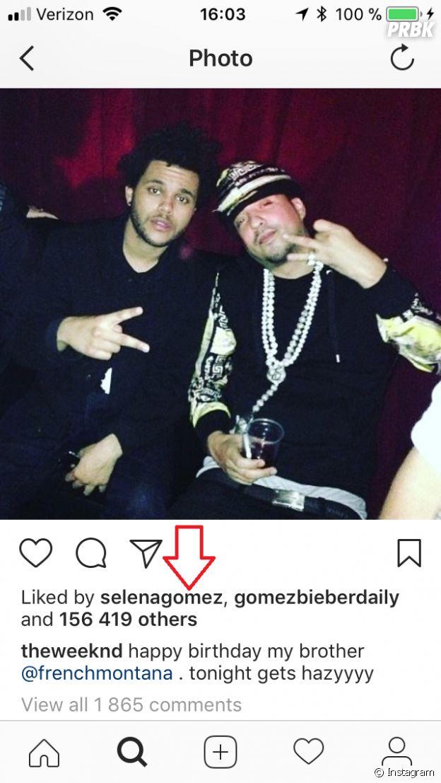 Selena Gomez like une photo de The Weeknd sur Instagram