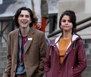 Selena Gomez et Timothée Chalamet sur le tournage de A Rainy Day in New York