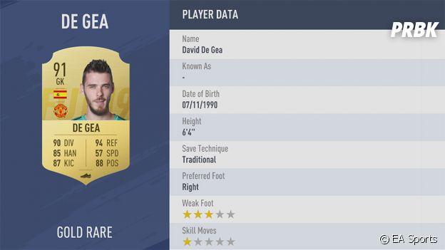 FIFA 19 : la note de David De Gea
