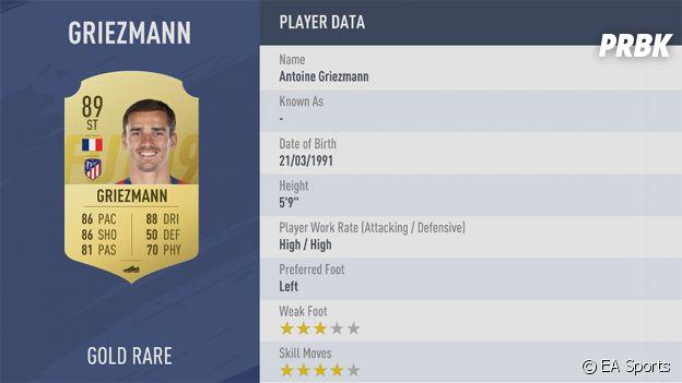 FIFA 19 : la note d'Antoine Griezmann
