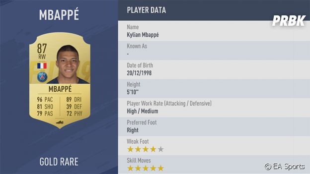 FIFA 19 : belle progression pour la note de Kylian Mbappé