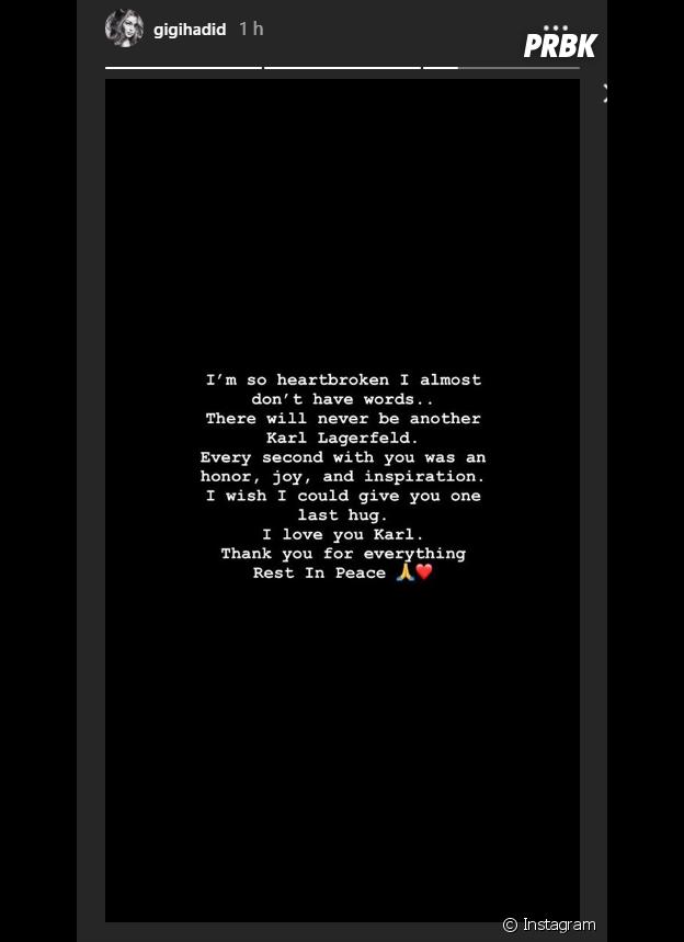 Gigi Hadid réagit à la mort de Karl Lagerfeld sur Instagram Stories