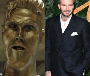 David Beckham piégé par James Corden : découvrez la vidéo hilarante du prank avec la fausse et horrible statue à l'effigie du footballeur.