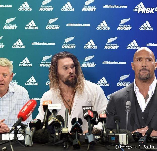 Jason Momoa (Aquaman) et Dwayne Johnson (alias The Rock) bientôt athlètes chez les All Blacks ? Le meilleur poisson d'avril de l'année !