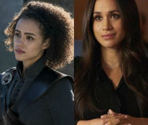 Missandei dans Game of Thrones (Nathalie Emmanuel) à gauche et Rachel Zane dans Suits (Meghan Markle) à droite