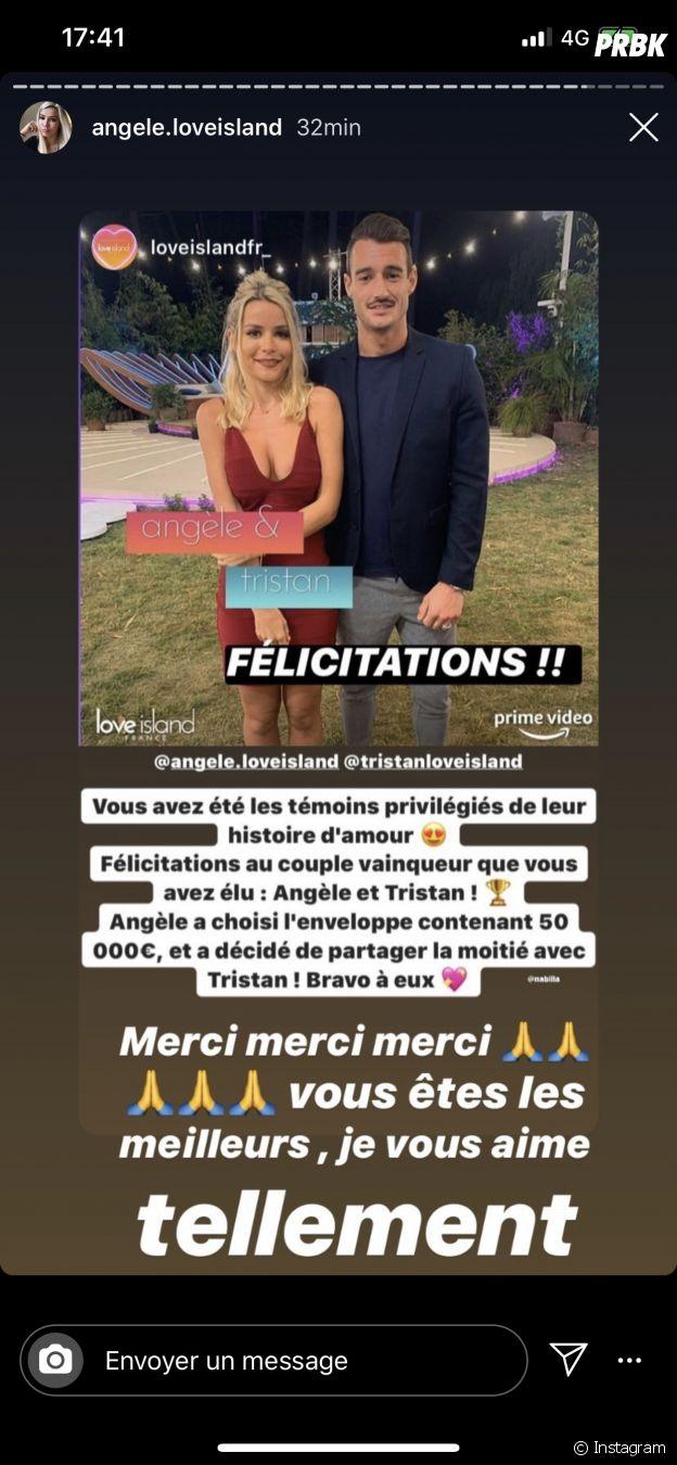 Love Island France : Angèle réagit à sa victoire avec Tristan