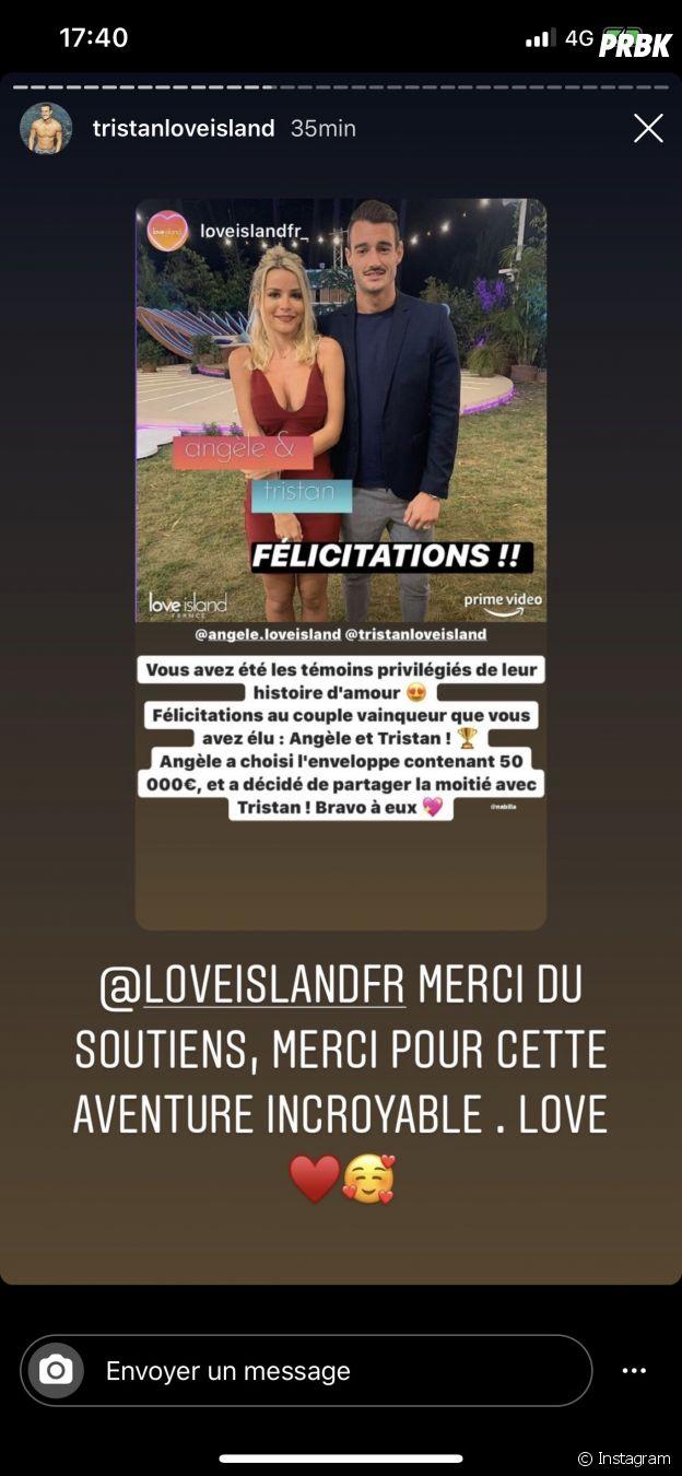 Love Island France : Tristant réagit à sa victoire avec Angèle