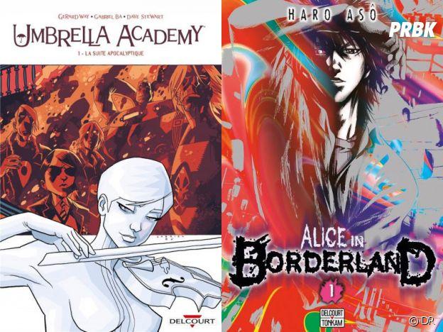 Les couvertures du comics Umbrella Academy et du manga Alice in Borderland