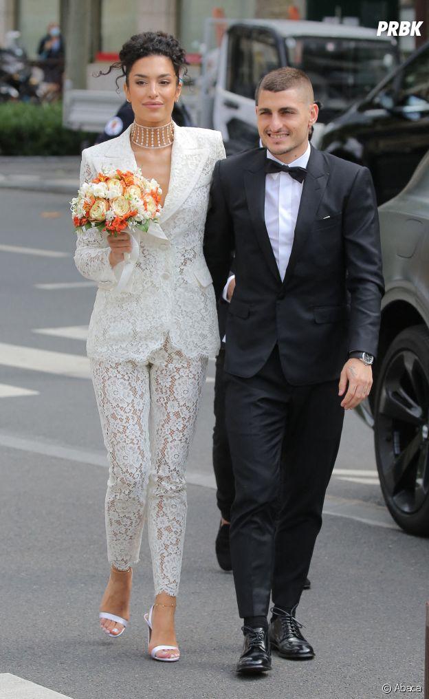 Marco Verratti et Jessica Aidi à la mairie de Neuilly-sur-Seine pour leur mariage, le 15 juillet 2021