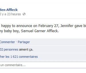 Ben Affleck annonce la naissance de son fils sur Facebook