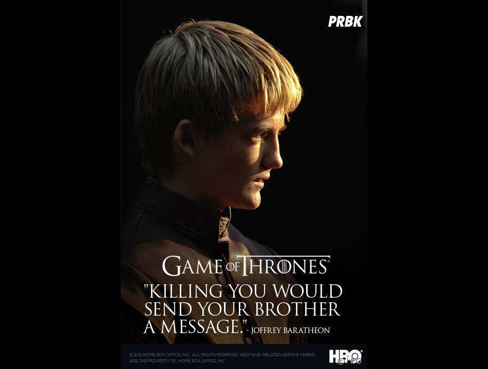 Joffrey Baratheon dans Game of Thrones
