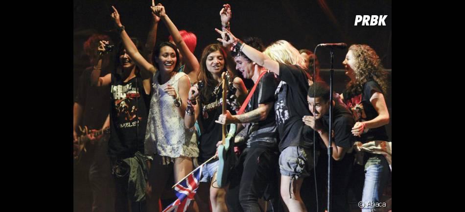 Green Day et ses fans sur la scène de Rock en Seine 2012