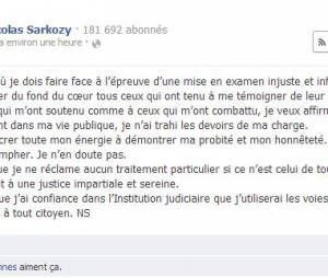 Nicolas Sarkozy a réagit sur Facebook à sa mise en examen