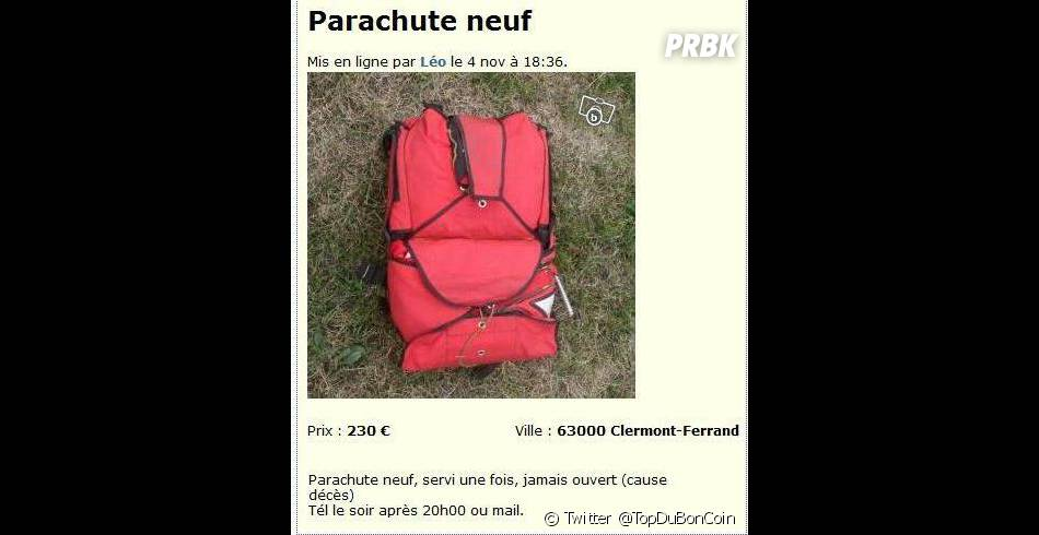 """Un parachute neuf, """"servi une fois, jamais ouvert (cause décès)"""" à vendre sur Le Bon Coin"""