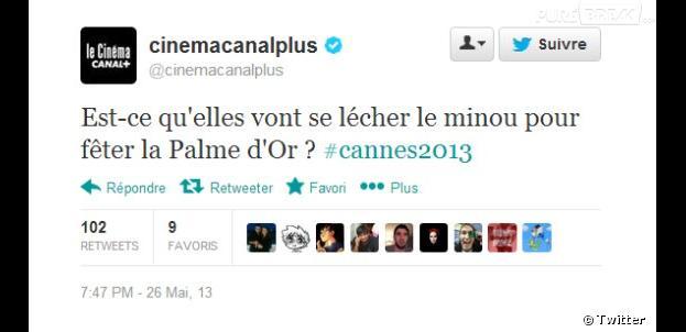 Le tweet de Canal Plus Cinema sur la Palme d'Or, La Vie d'Adèle, fait polémique