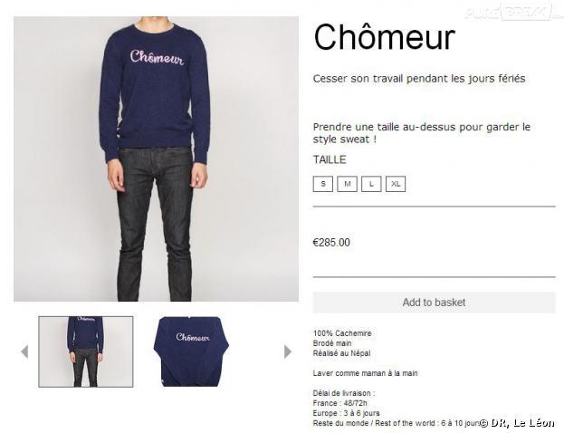 """Le pull """"Chômeur"""" vendu 285 euros par Le Léon crée la polémique"""