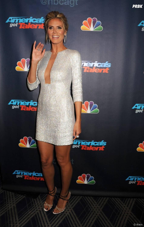 Heidi Klum a le sourire à une soirée organisée pourAmerica's Got Talent le 21 août 2013