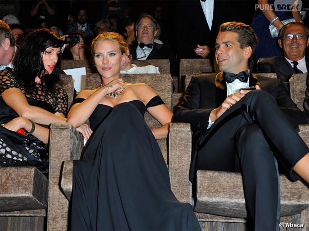 Scarlett Johansson, avec son fiancé français Romain Dauriac pour la projection de 'Under the Skin' à la Mostra de Venise, le 3 septembre 2013