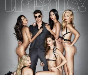 Robin Thicke rejoue la provocation entouré de femmes nues en Une du magazine Treats !