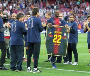 Eric Abidal après son dernier match avec le FC Barcelone, le 6 juin 2013 au Camp Nou