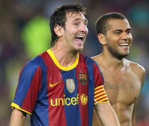Lionel Messi et Dani Alves, le 25 août 2010 au Camp Nou