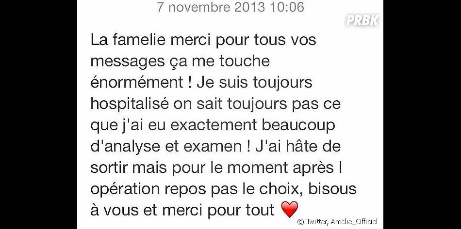 Amélie Neten a posté un message pour rassurer ses followers
