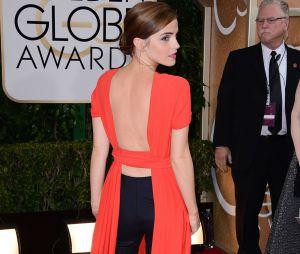 Emma Watson en Dior sur le tapis rouge des Golden Globes, le 12 janvier à Los Angeles