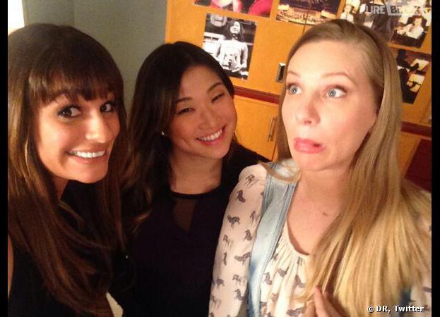 Glee saison 5 : Lea Michele, Jenna Ushkowitz et Heather Morris sur le tournage de l'épisode 100