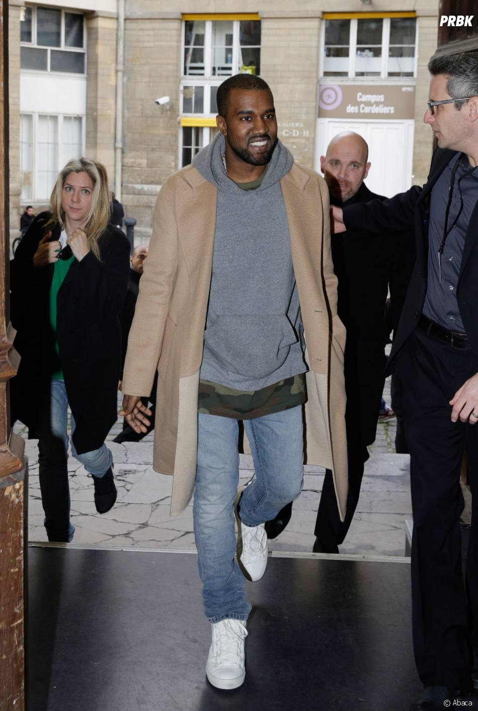 Kanye West au défilé Y3 à la Fashion Week de Paris, le 19 janvier 2014