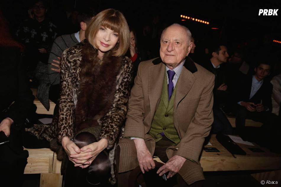 Anna Wintour et Pierre Bergé au défilé Yves Saint Laurent à la Fashion Week de Paris, le 19 janvier 2014