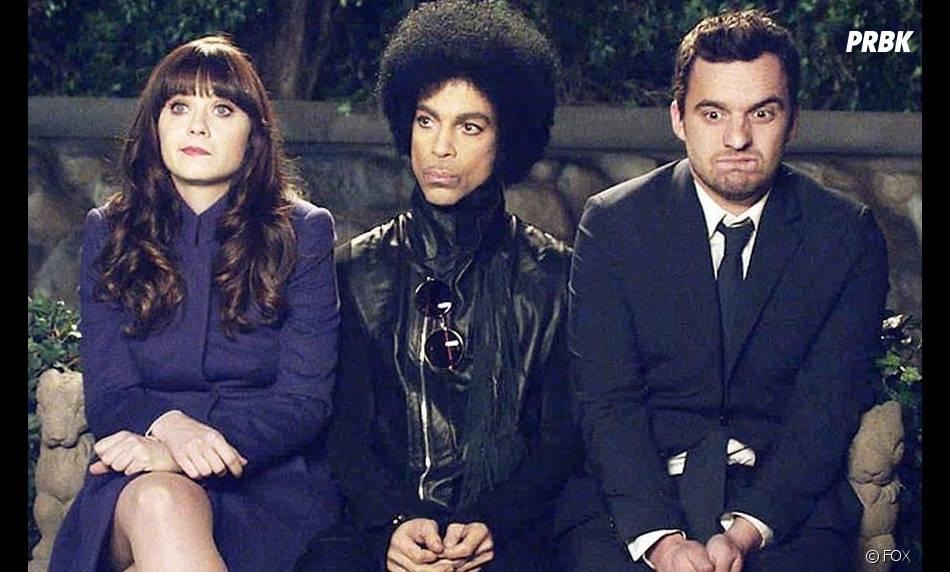 New Girl saison 3, épisode 14 : Prince entre Zooey Deschanel et Jake Johnson