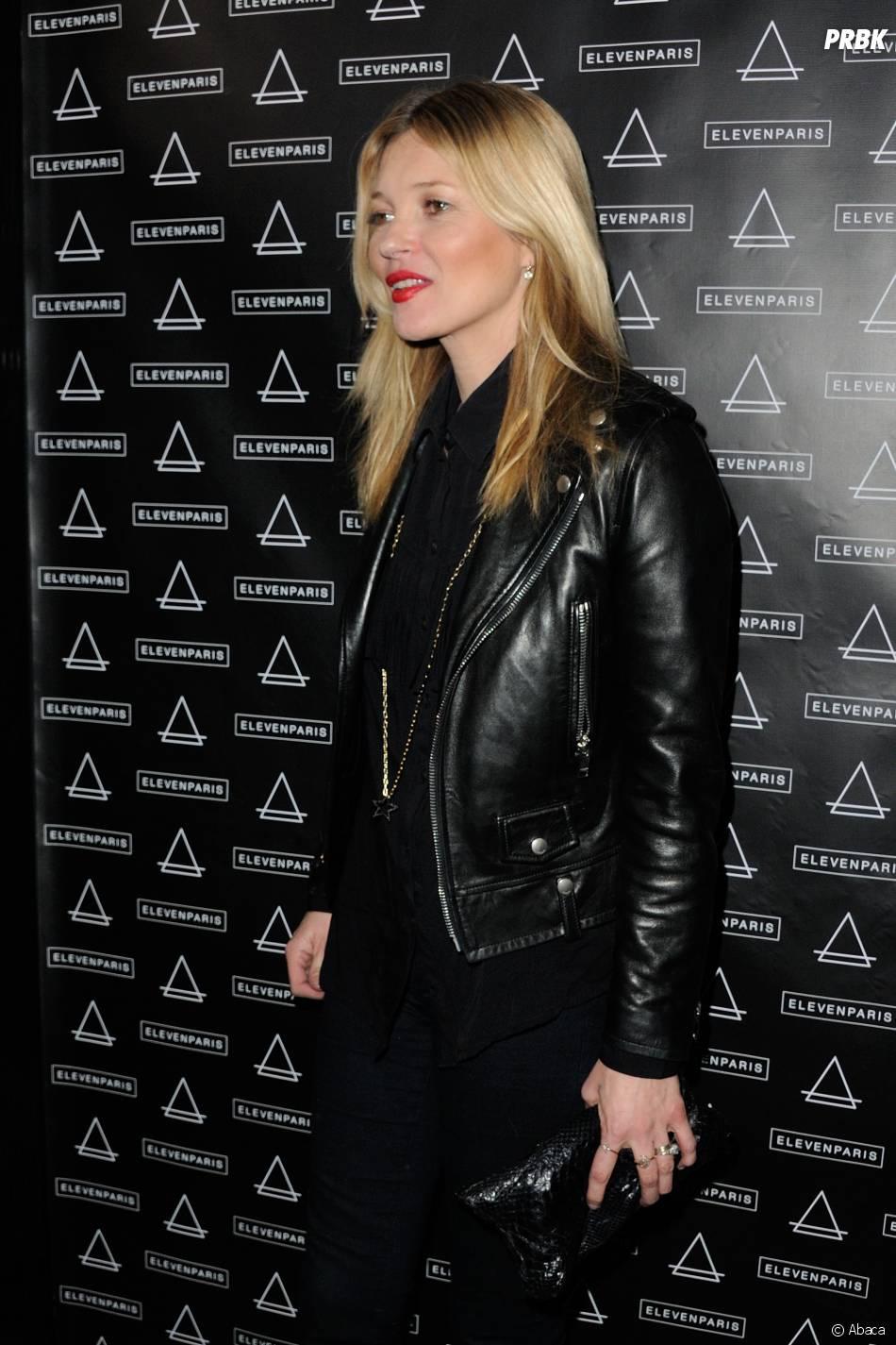 Kate Moss, invitée de la soirée Eleven Paris à la Gaité Lyrique et au VIP Room, le 4 mars 2014