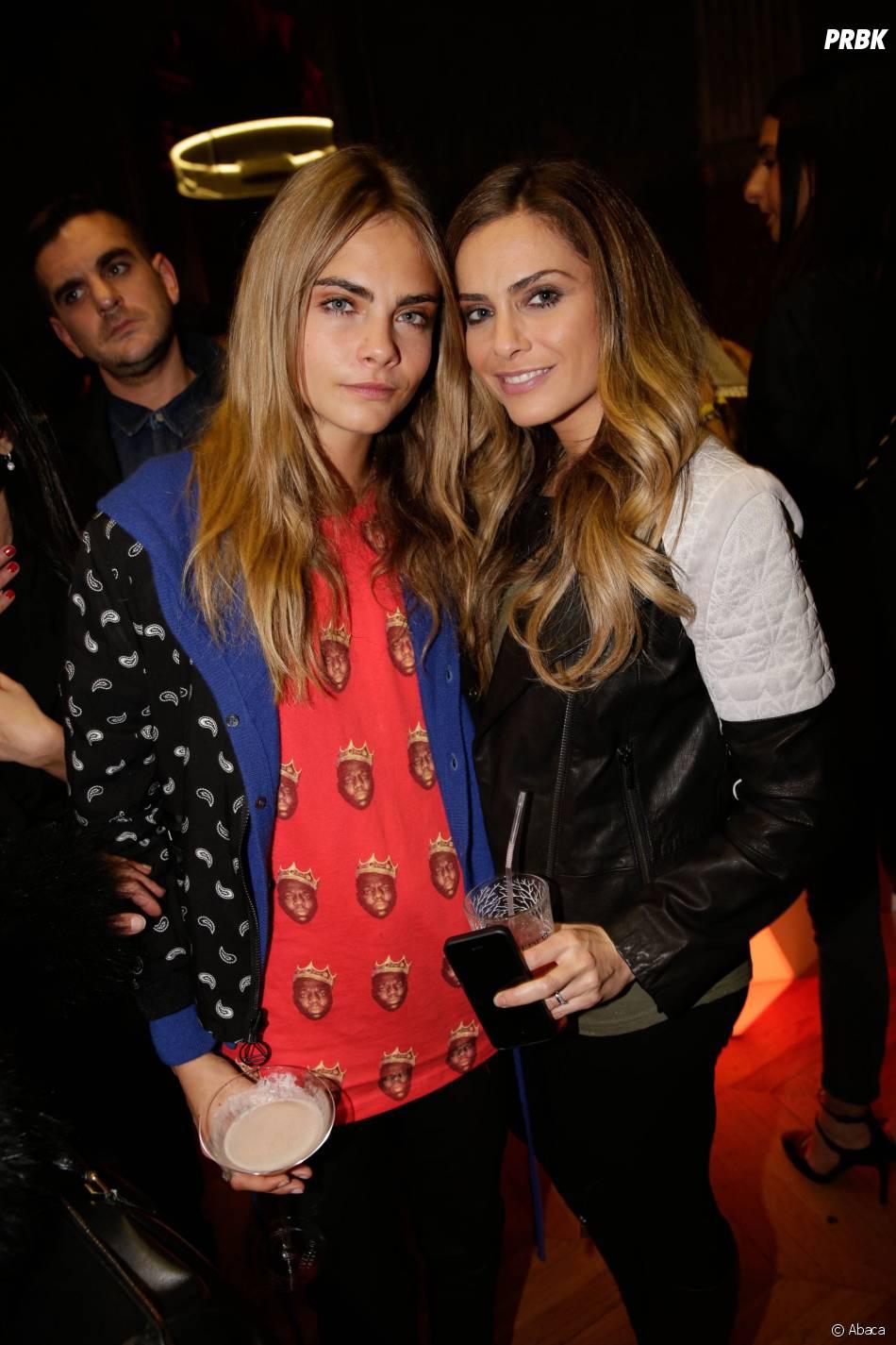 Cara Delevingne et Clara Morgane, invitées de la soirée Eleven Paris à la Gaité Lyrique et au VIP Room, le 4 mars 2014