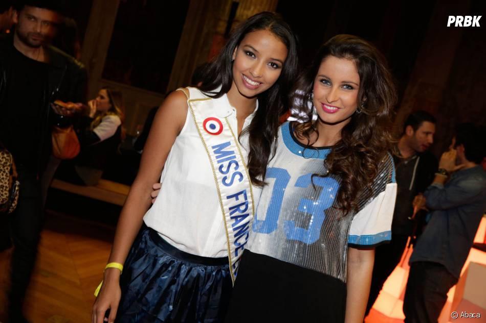 Flora Coquerel (Miss France 2014) et Malika Ménard, invitées de la soirée Eleven Paris à la Gaité Lyrique et au VIP Room, le 4 mars 2014