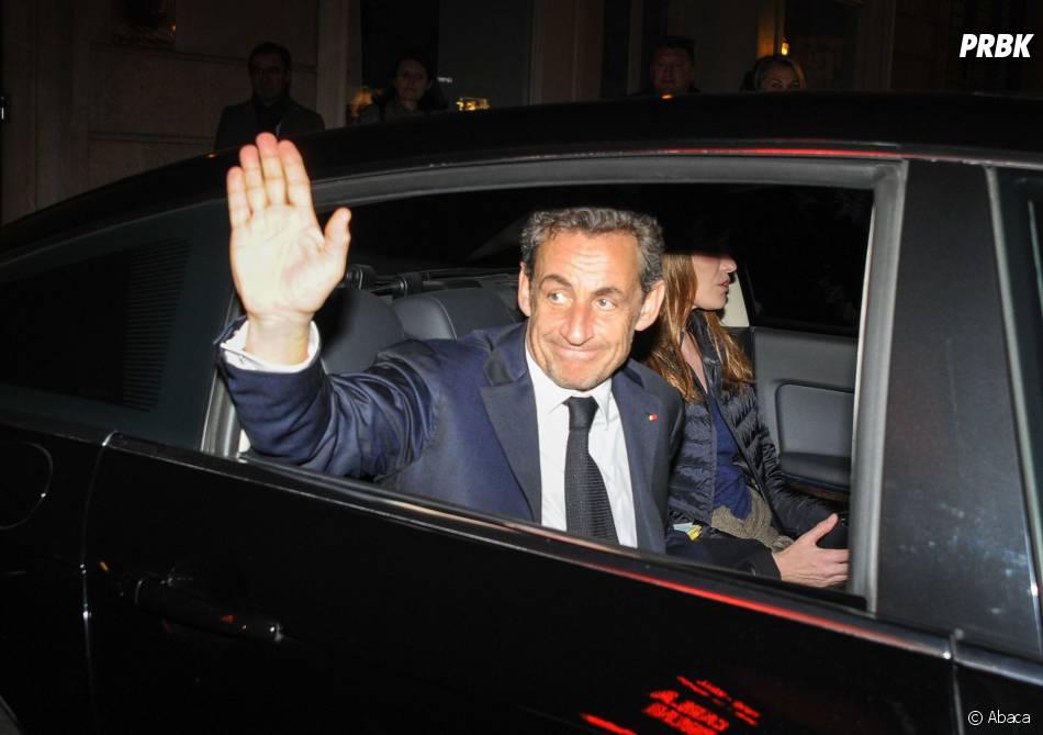 Nicolas Sarkozy au concert de Carla Bruni à l'Olympia à Paris, le 11 mars 2014