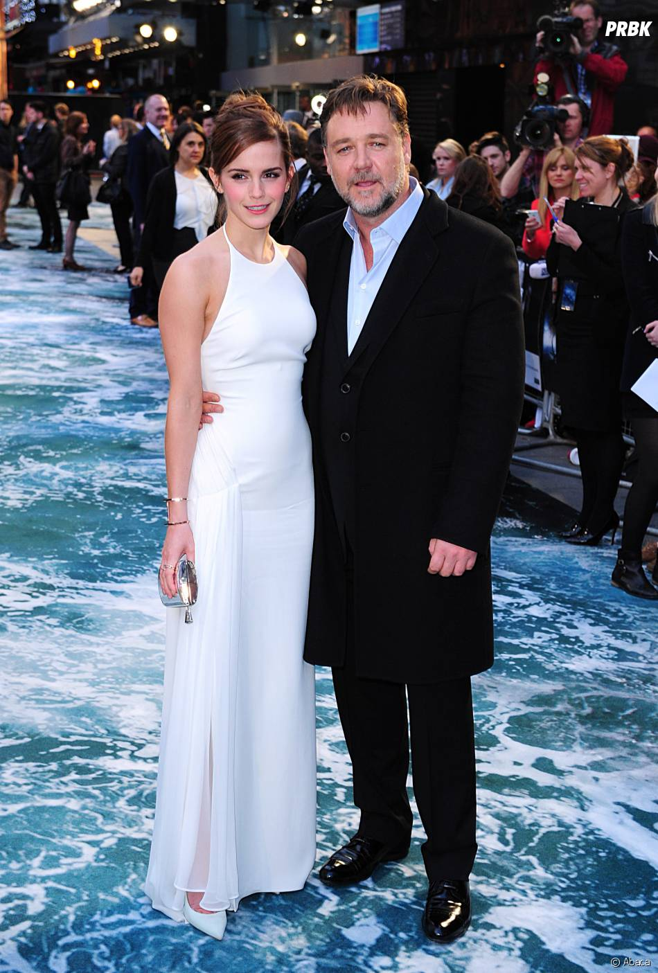Emma Watson et Russell Crowe prennent la pose pour Noé, le 31 mars 2014 à Londres