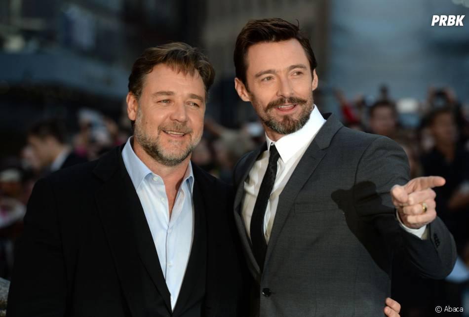 Russell Crowe et Hugh Jackman côte-à-côte sur le tapis rouge de Noé, le 31 mars 2014 à Londres