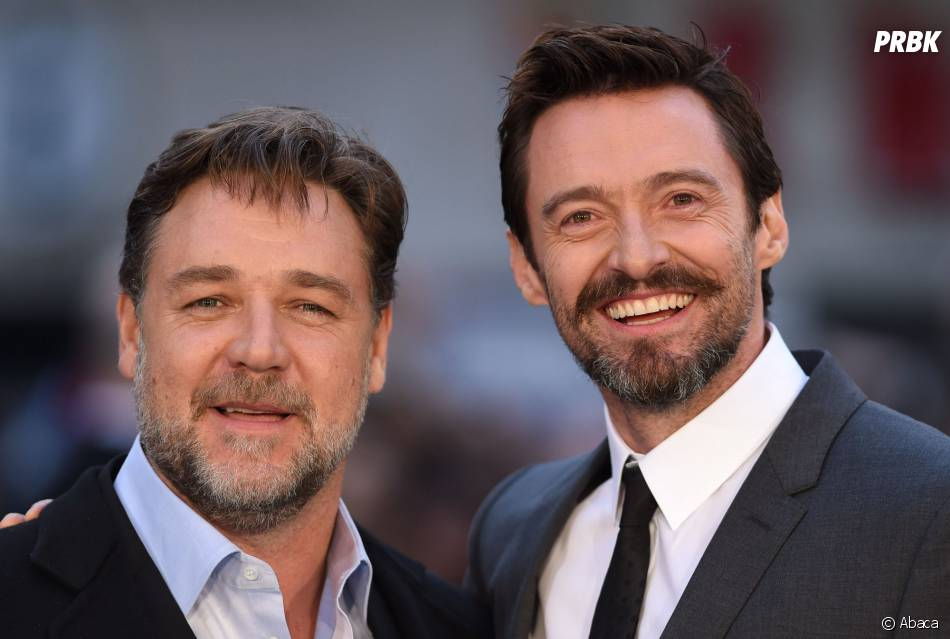 Russell Crowe et Hugh Jackman réunis pour l'avant-première de Noé, le 31 mars 2014 à Londres