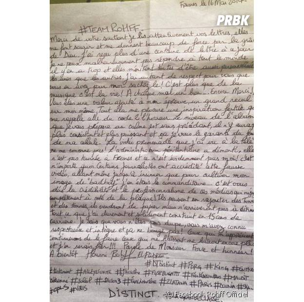 Rohff écrit à ses fans depuis sa prison dans une lettre publiée sur sa page Facebook