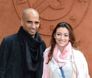 Rachel Legrain Trapani et son mari Aurélien Capoue au tournoi de Roland-Garros, le 28 mai 2014 à Paris