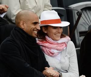 Rachel Legrain Trapani et son mari Aurélie Capoue au tournoi de Roland-Garros, le 28 mai 2014 à Paris