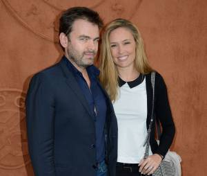 Clovis Cornillac avec sa femme à Roland Garros le 3 juin 2014