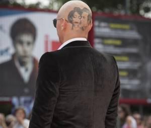 James Franco avec un tatouage sur le crâne au Festival du Film de Venise, le 5 septembre 2014