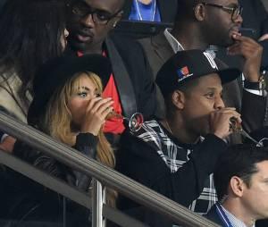 Beyoncé et Jay Z à Paris au Parc des Princes pour le match de Ligue des Champions entre le Paris SG et le Barça