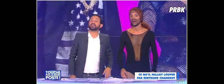 """Bertrand Chameroy """"sosie"""" de Beyoncé, le 1er octobre 2014 dans Touche pas à mon poste"""