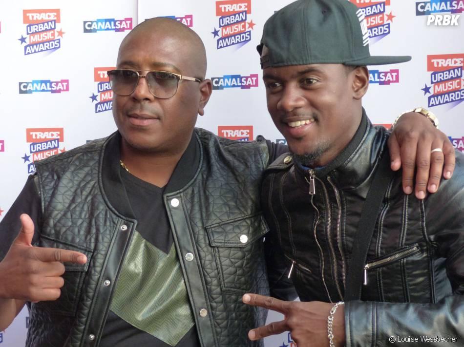 Jacky Brown et Black M lors de la conférence de presse de Trace Urban Music Awards 2014 au Casino de Paris, le 23 septembre 2014