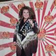 Marianne James souriante à la première de Love Circus, le 28 octobre 2014, aux Folies Bergères